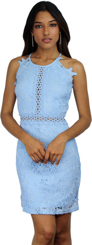 Sway Away Light Blue Crochet Lace Dress