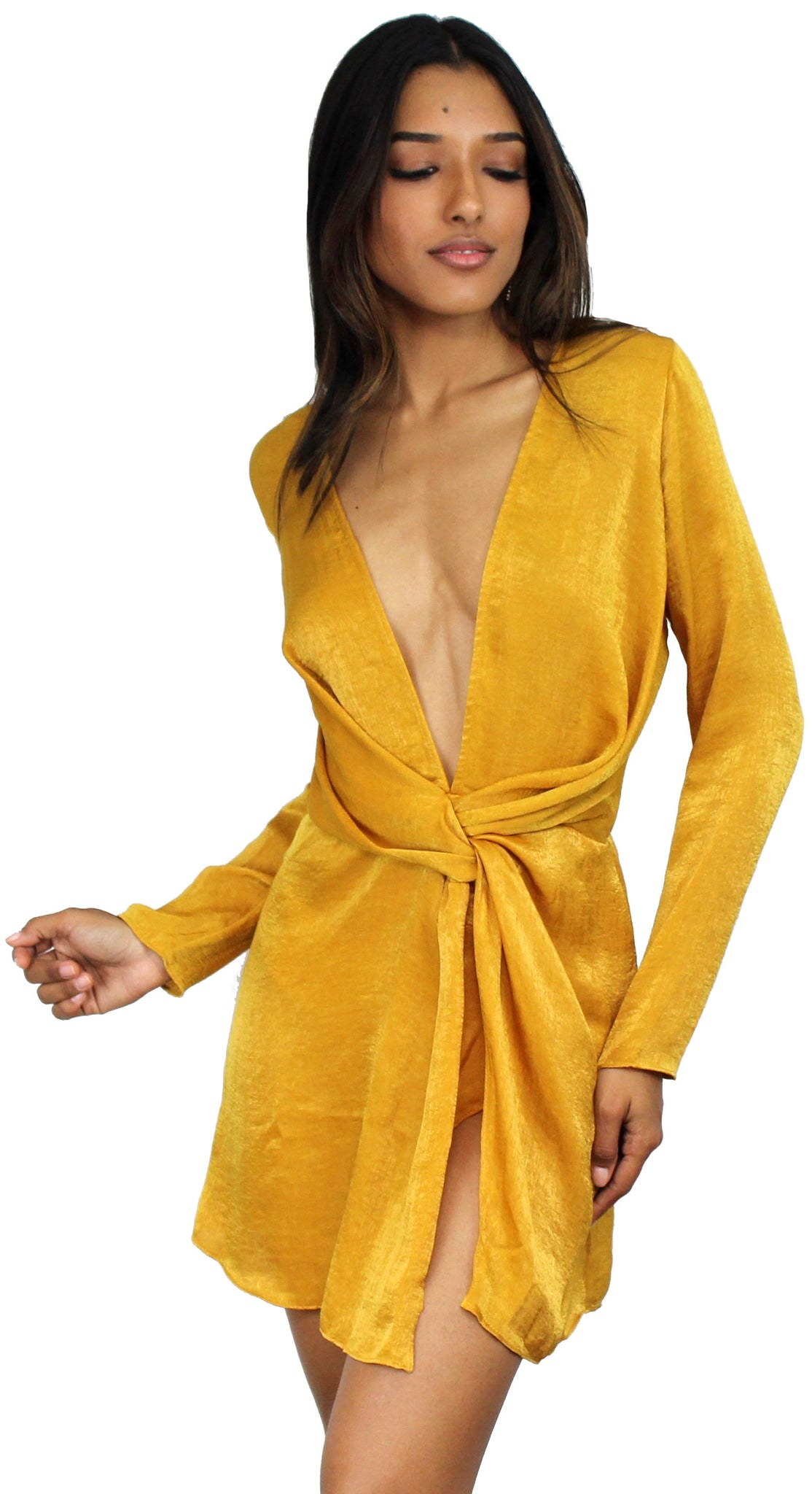 Get Kylie's Look with Mustard Satin Dress
