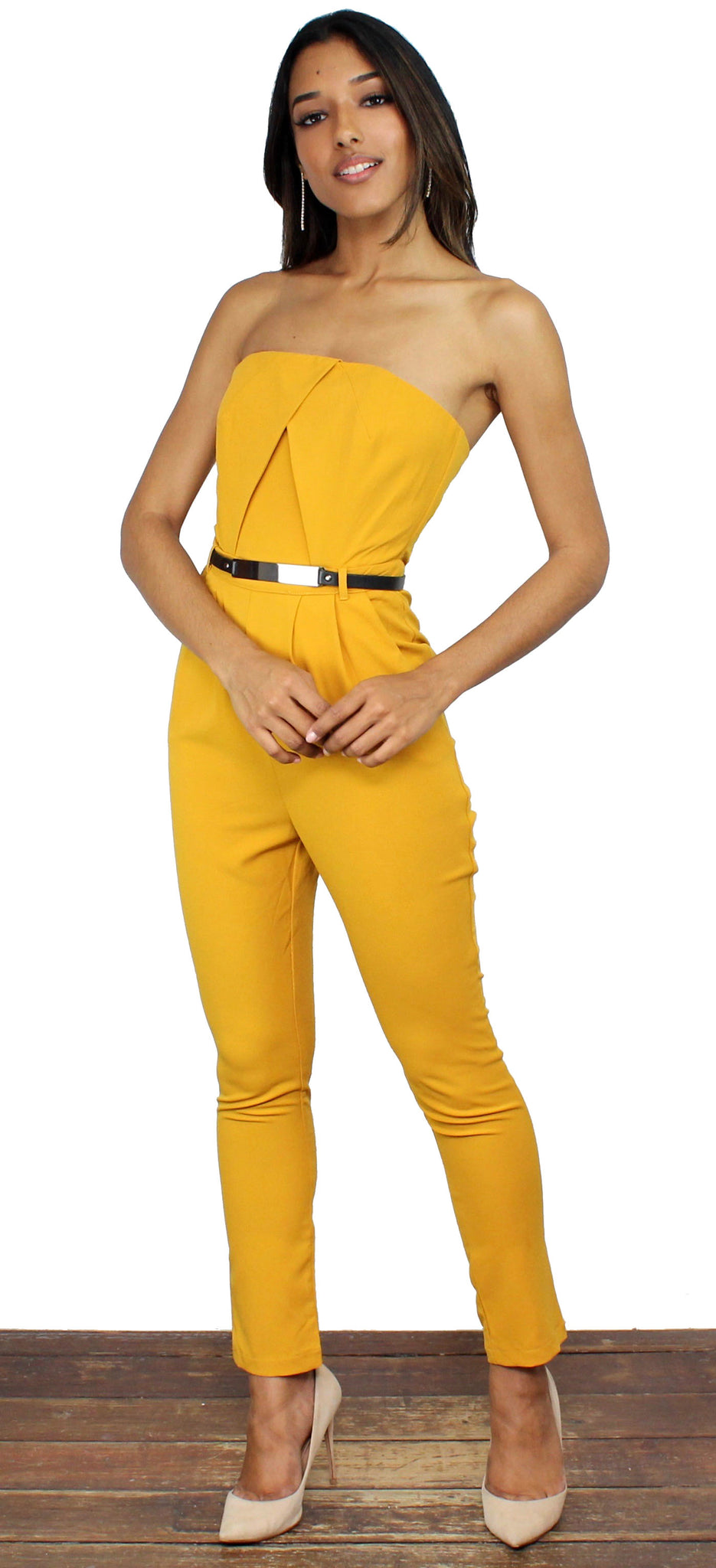 Learning to Fly Mustard Skinny Jumpsuit