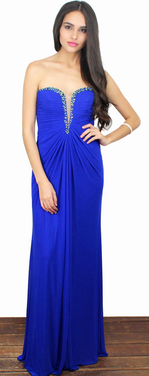 Royal Blue Queen Strapless Gown