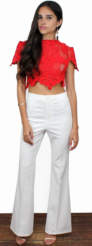 All Very Weel Hight Waist White Flare Pants