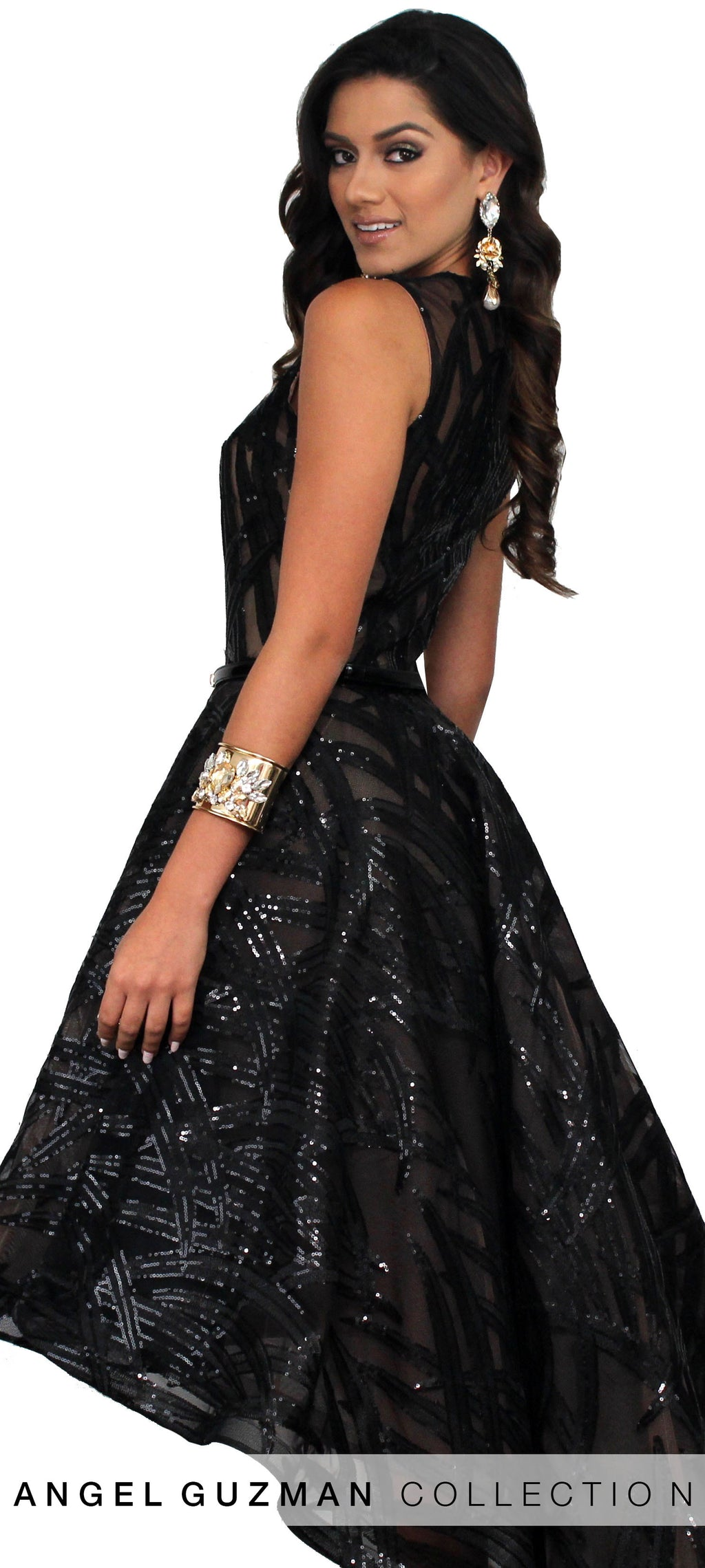 Gea Black Sequins High Low Formal Gown