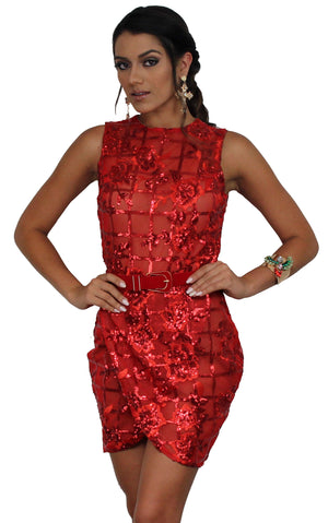 All Dolled Up Red Sequins Mini Dress