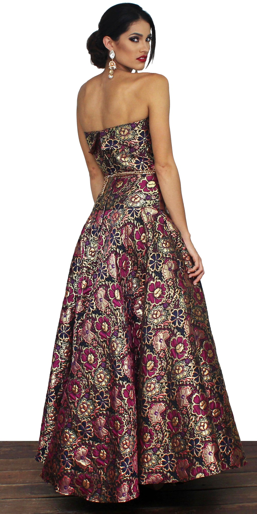 Elegantly Inclined Floral Print Formal Gown