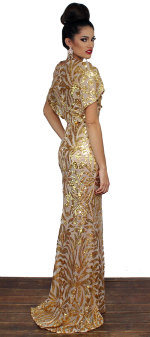 Luxurious Golden Love Sequins Gown