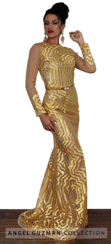 Hey Doll Yellow Sequins Mermaid Gown