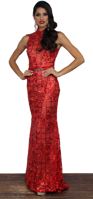 Girl in the Mirror Red Sequins Gown