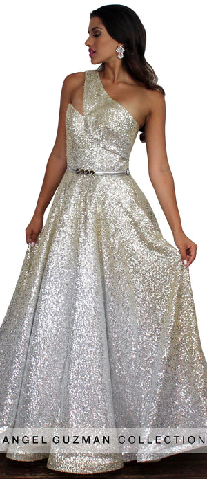 Source of Joy One-Shoulder Sequins Gown