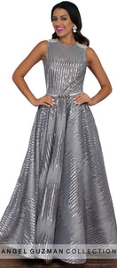 Lustrous Love Gray Sequins Gown