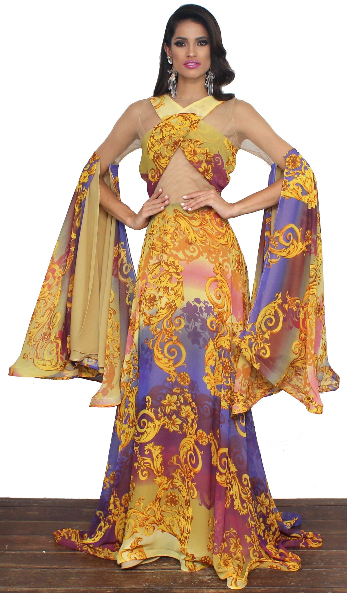 Yellow Kind of Wonderful Print Formal Gown