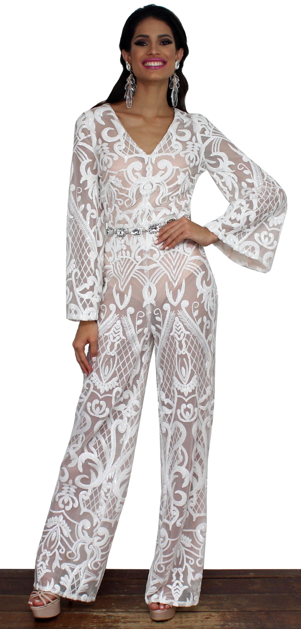 Refine and Poise White Sequins Jumpsuit