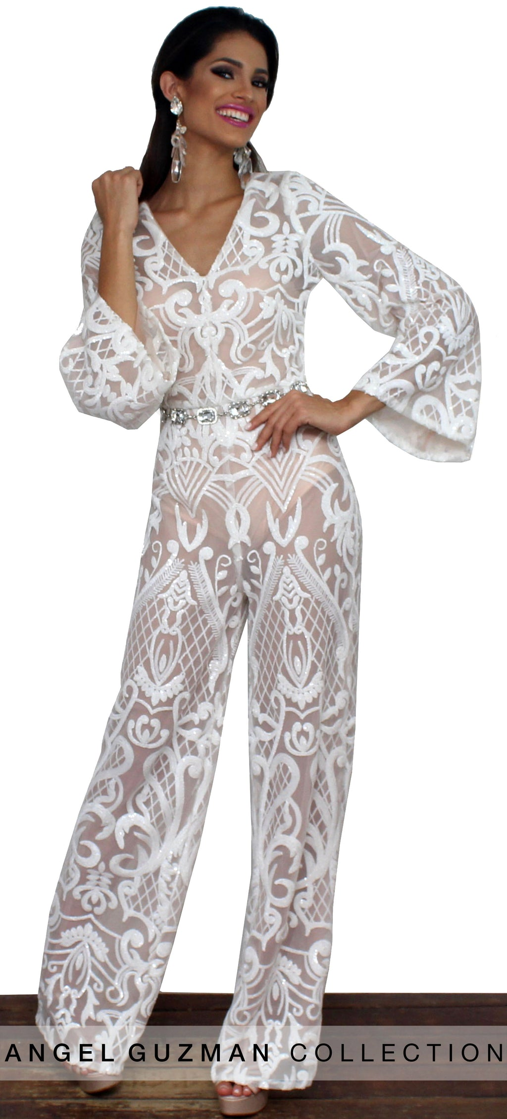 7e055d79ebe Refine and Poise White Sequins Jumpsuit
