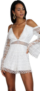 Pier Pleasure White Crochet Romper