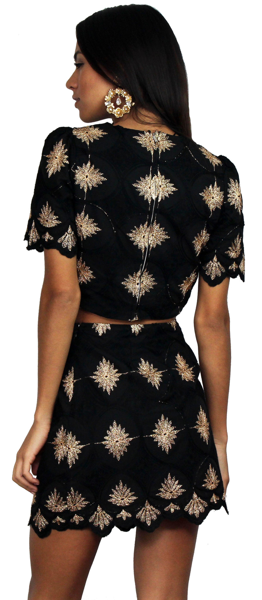 Art of Poise Black Embroidered Two-Piece Set