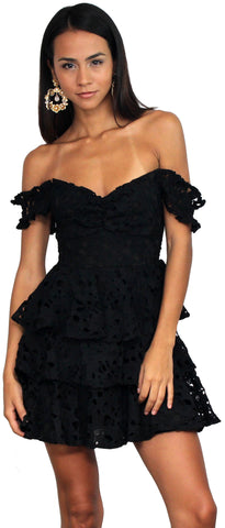 Perfect Evening Black Crochet Dress