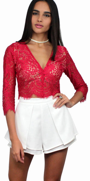 Poetic Notion Berry Lace Crop Top