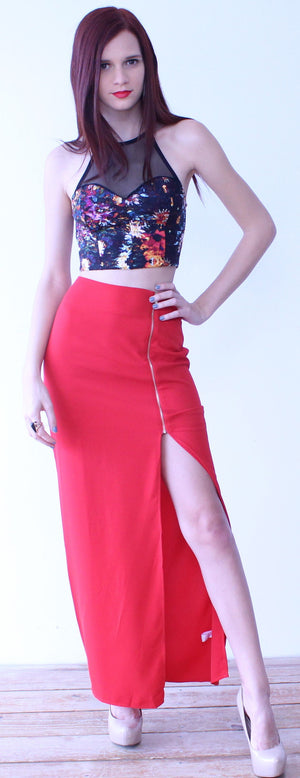 Touch of Cliché Red Maxi Skirt