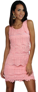 Lover's Way Peach Ruffle Lace Dress