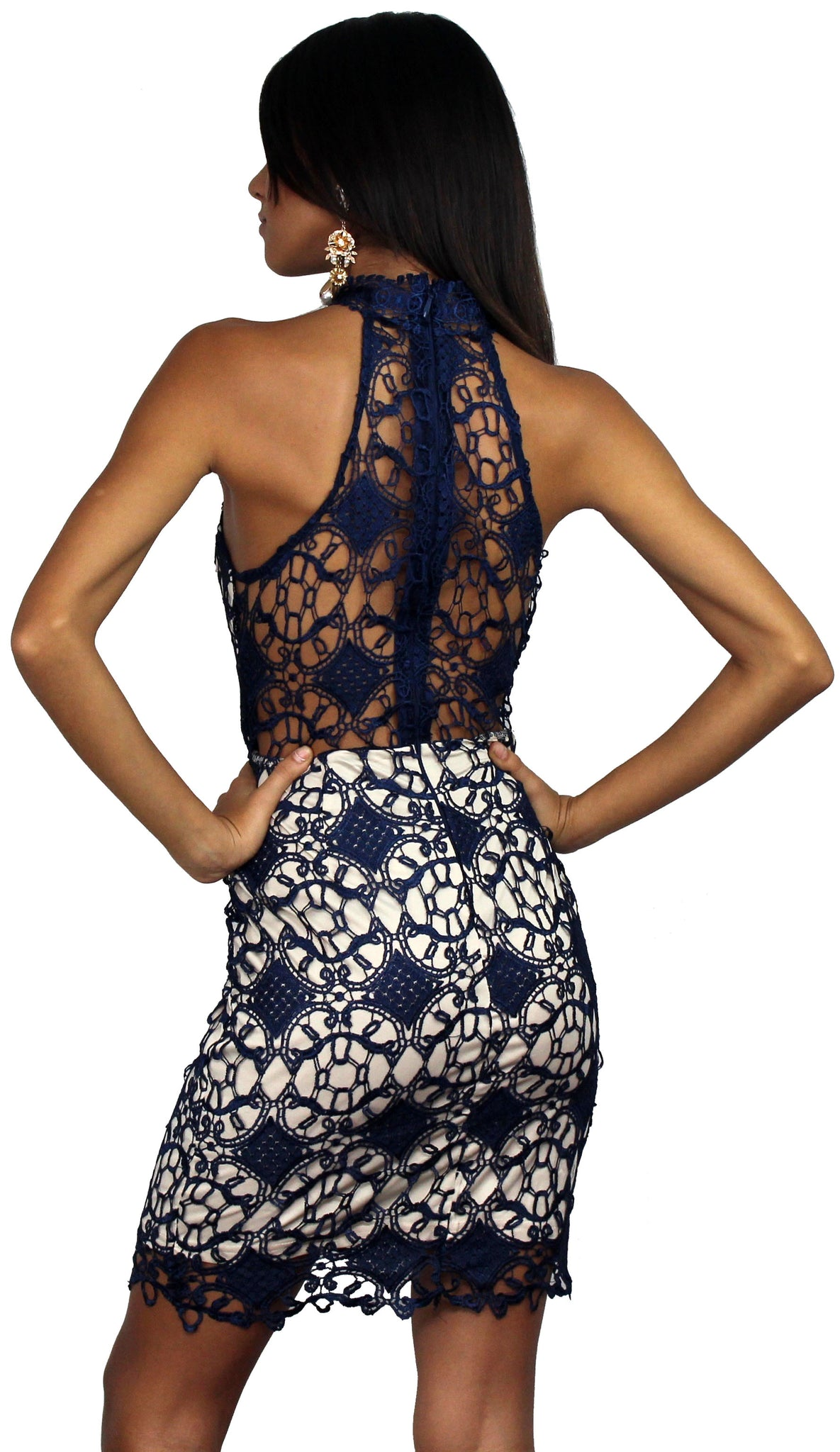 Luxe Love Navy & Nude Lace Dress