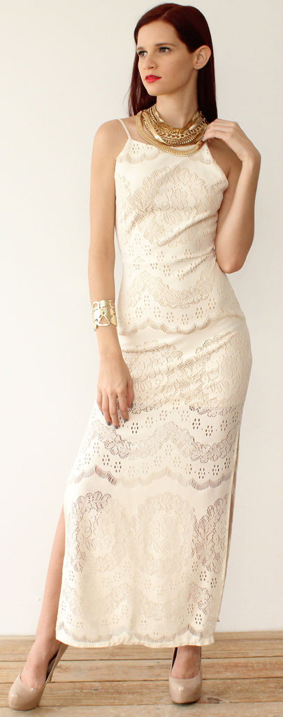 On the Boulevard Cream Lace Maxi Dress