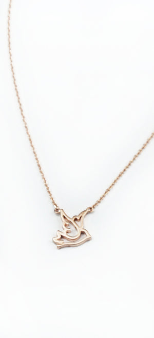 Pleasant Presence Rose Gold Bird Necklace