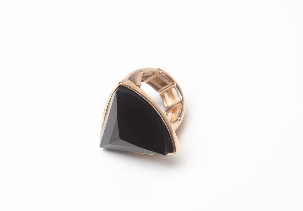Black Triangle Stone Ring