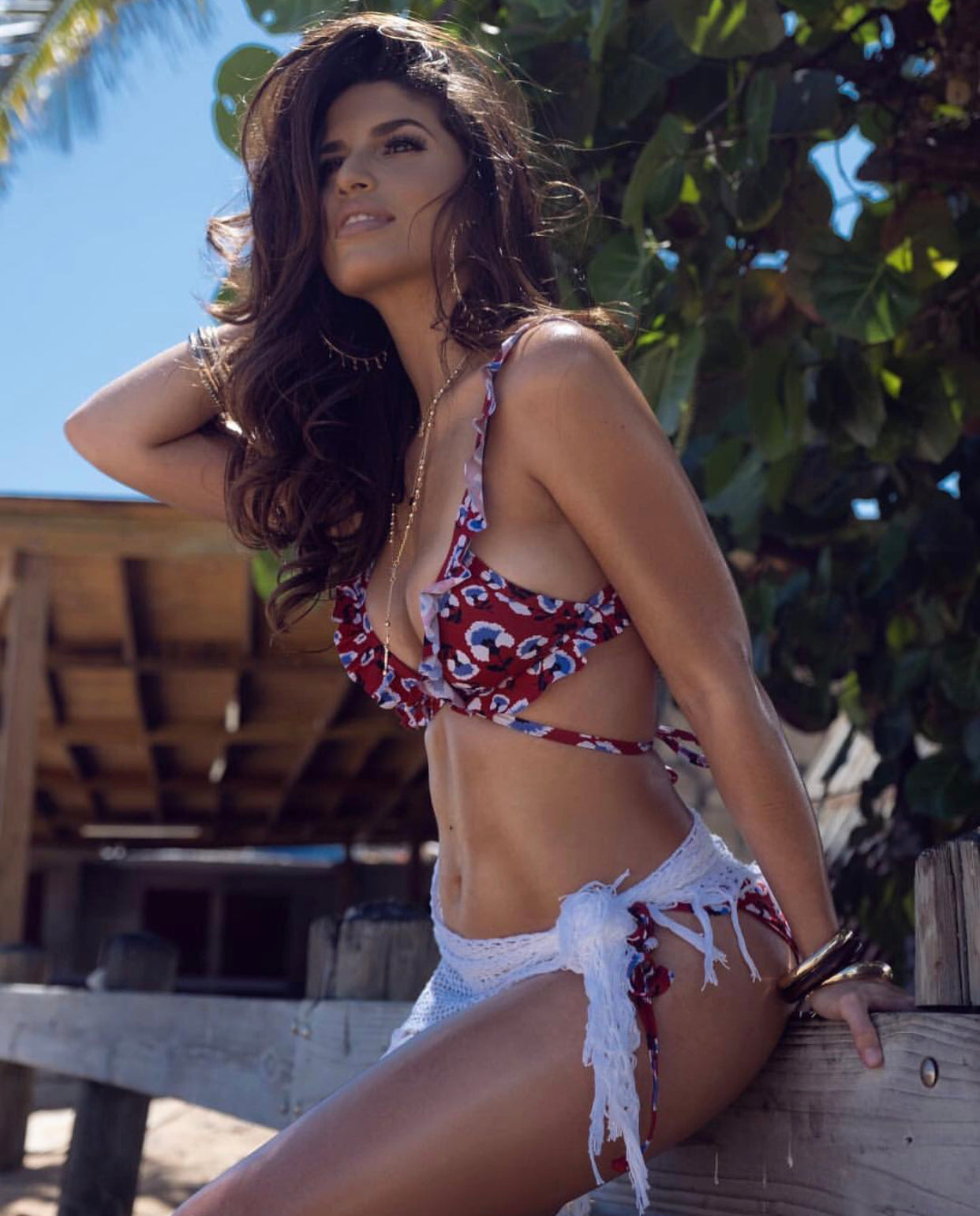 Power of Flower Print Berry Ruffle Bikini