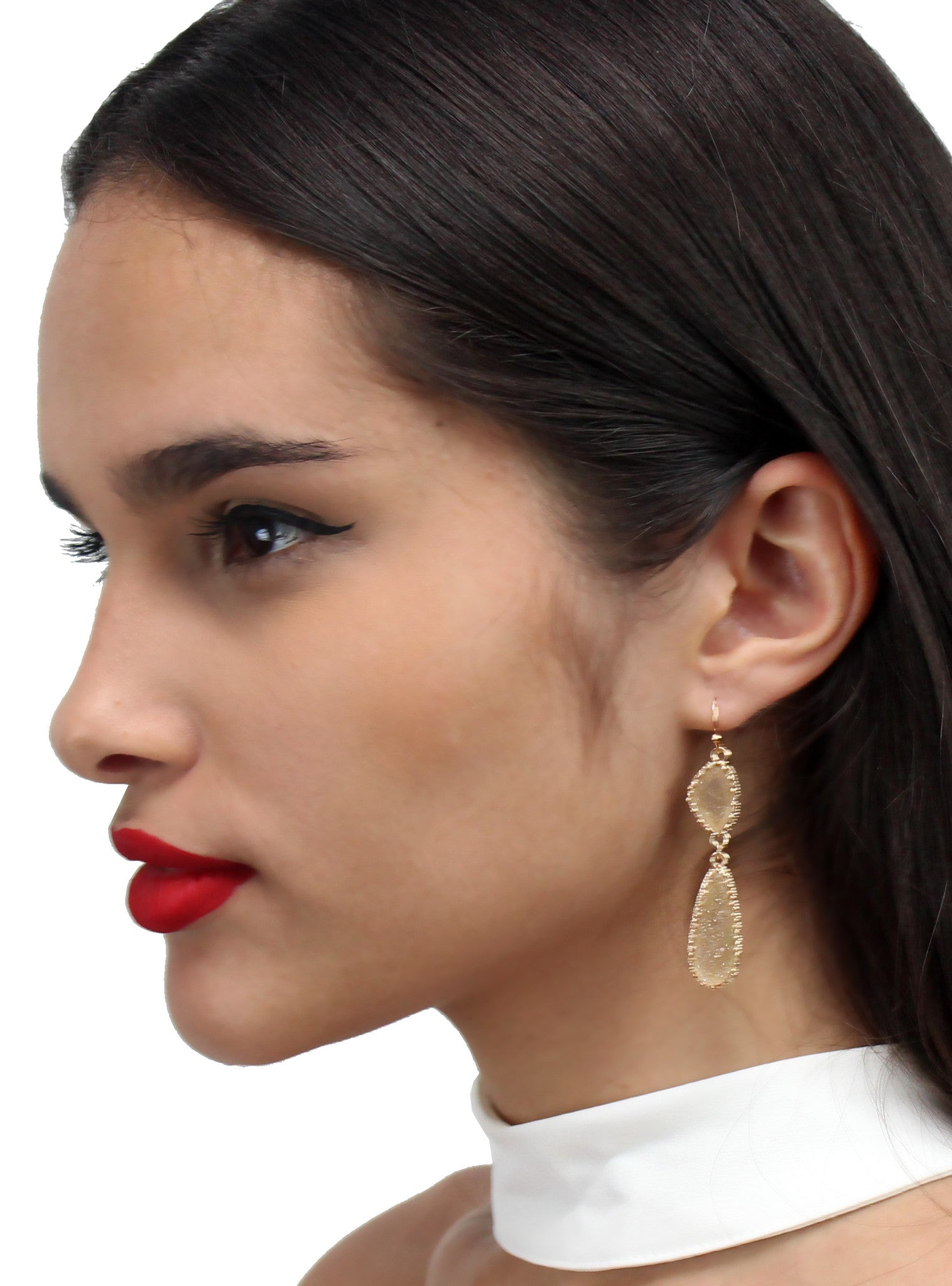 Beautiful Stranger Gold Rock Earrings