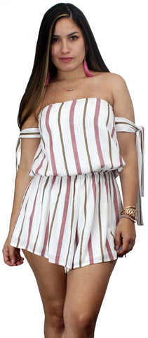 Stripes of Fun Ivory Off Shoulder Romper