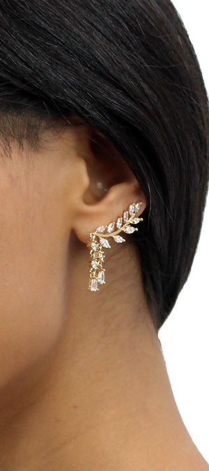 Faithfully Gold Rhinestone Ear Cuffs