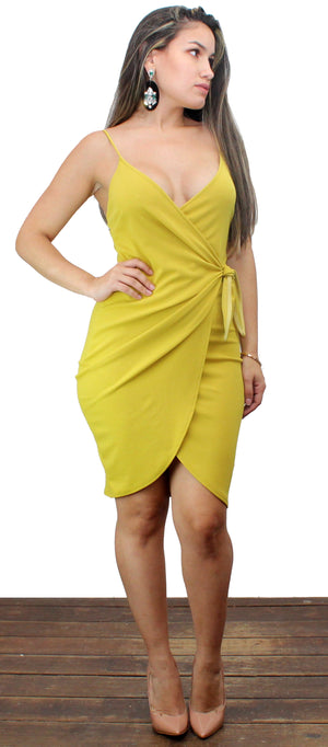 Remarkable Lime Wrap Bodycon Dress