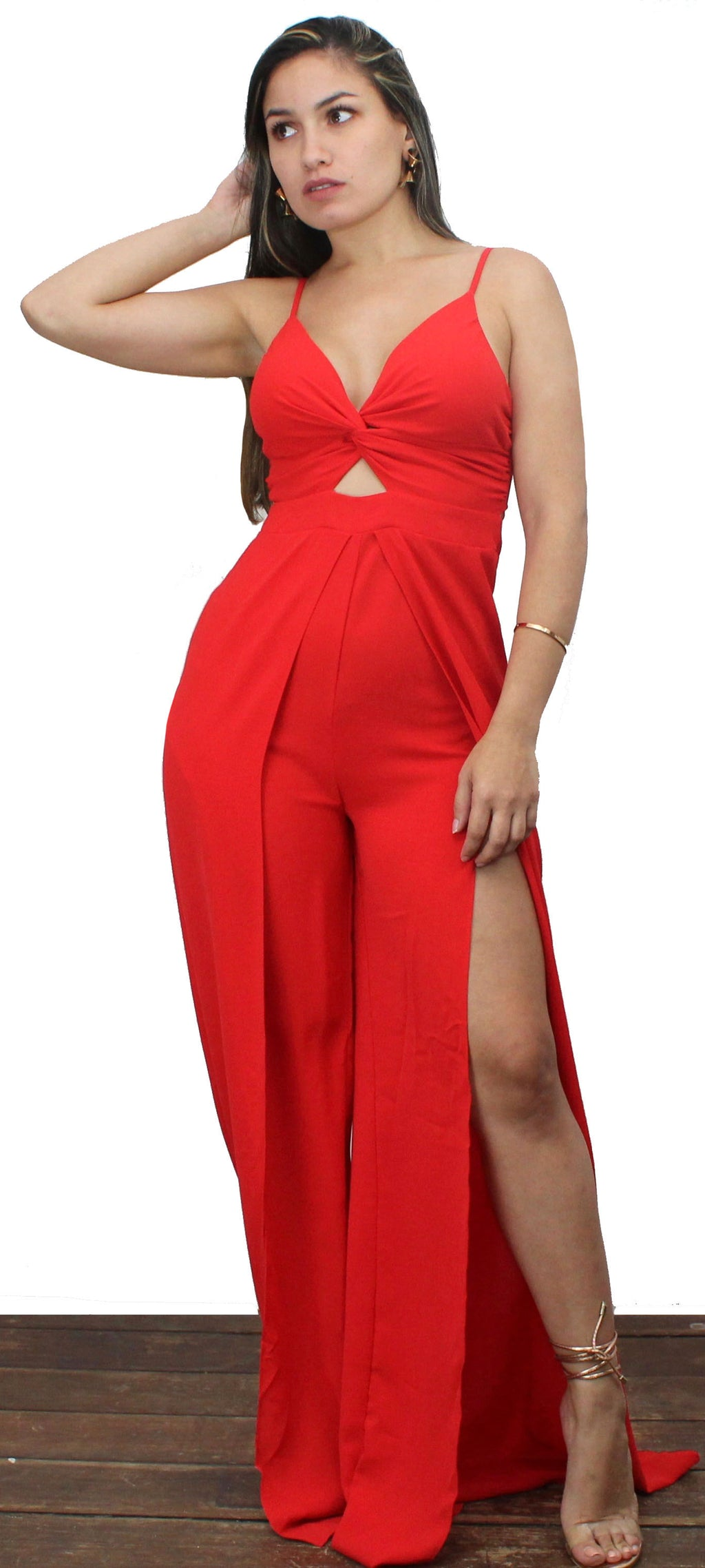 No Ordinary Love Red Open Slits Jumpsuit