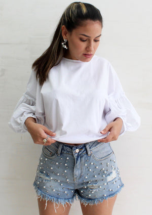 Lift My Spirits White Ballon Sleeves Top