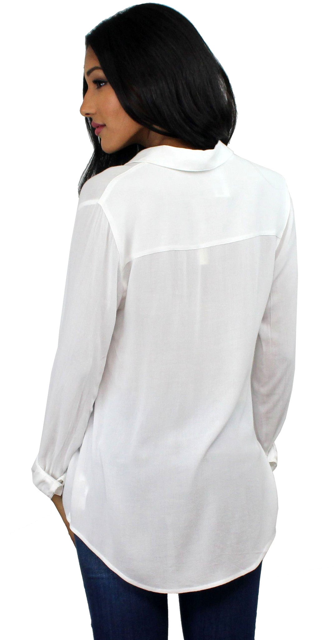 Simple Times White Long Sleeve Top