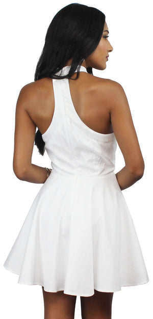 Face to Face White Halter Choker Dress