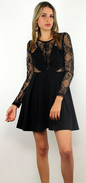 Very Enticing Black Lace Dress
