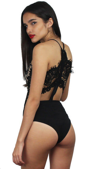 Pure Love Black Lace Bodysuit