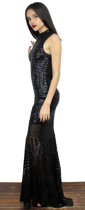 Shining for You Black Sequins Gown