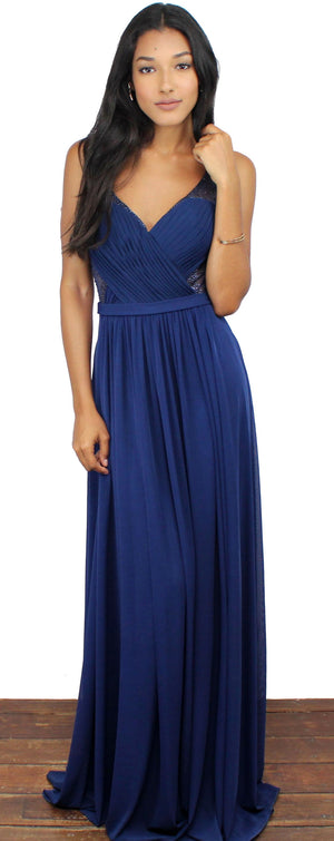 Evening Escape Navy Draped Gown