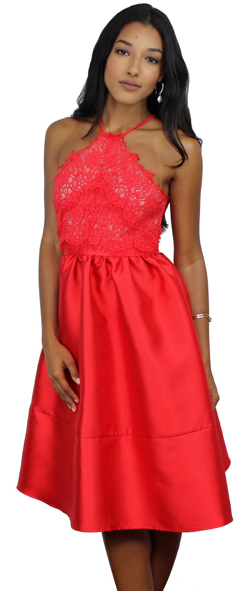 A Moment Like This Red Lace Skater Dress