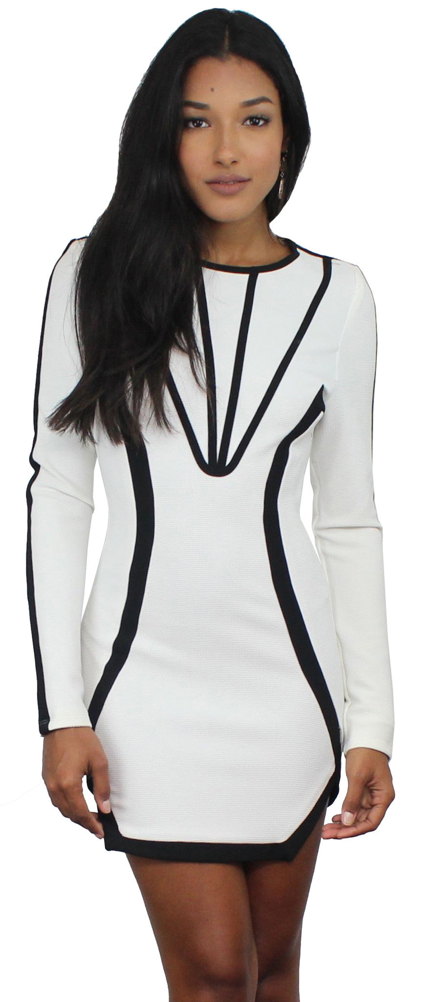 Repeat After Me Black & White Long Sleeves Dress