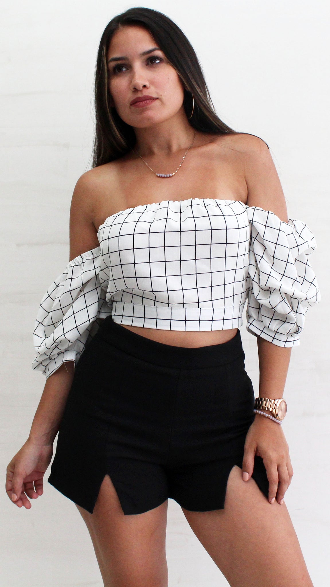 Plaid with My Heart White & Black Crop Top
