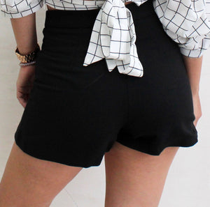 Over All Black High Waist Shorts