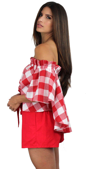 Style at Heart Red Gingham Two-Piece Set