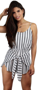 Saltwater and Sun Grey & White Stripes Romper