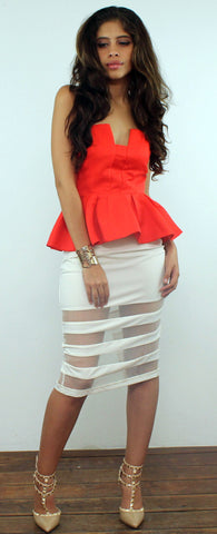 Sheer and Now White Stripes Skirt