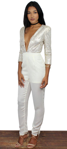 Showstopper Gold Sequins Jumpsuit