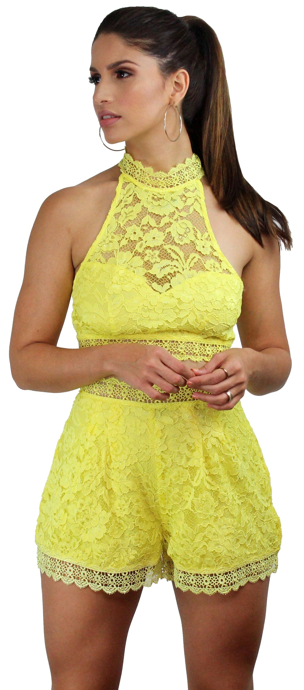 Accompany Yellow Lace Two-Piece Set
