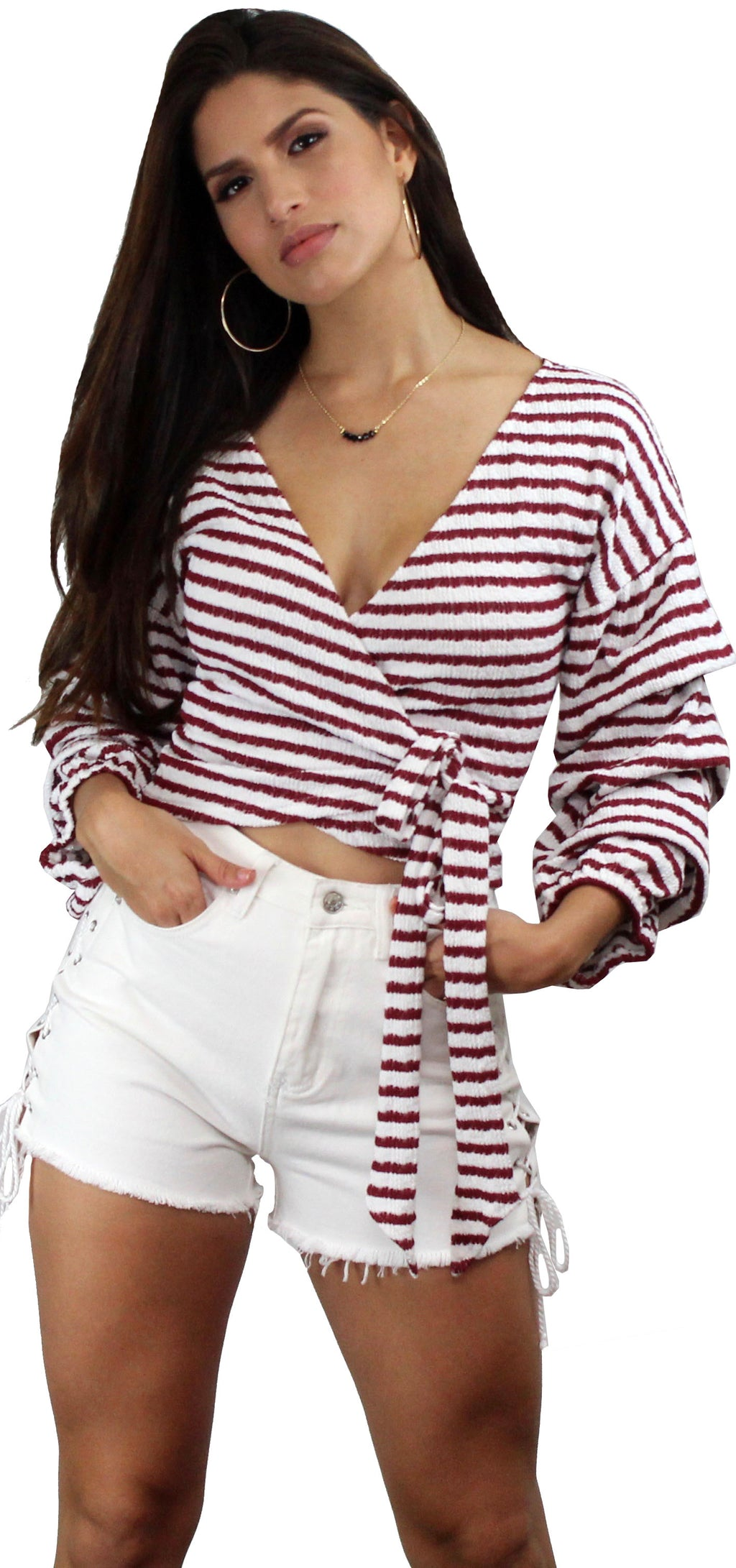 Hello, Darling Wine Stripes Long Sleeves Top