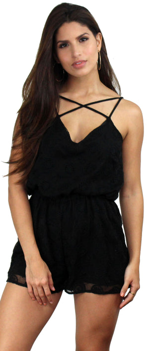 Loving the Spot Black Lace Romper